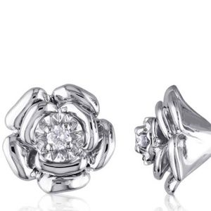 Amour Delmar Diamond Floral  Sterling Silver Studs